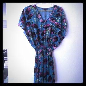 Berate Johnson blue floral sheer mini dress